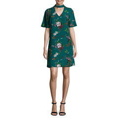 Worthington Short Sleeve Floral Shift Dress