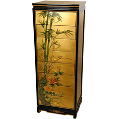 Oriental Furniture Handpainted Accent Cabinet