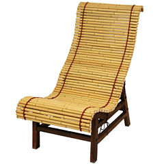 Oriental Furniture Curved Japanese Bamboo Armchair