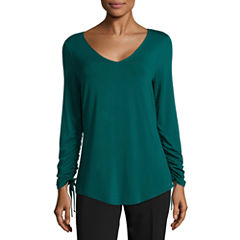 Worthington 3/4 Sleeve V Neck T-Shirt-Womens