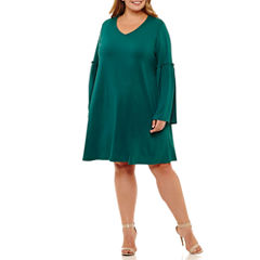 Boutique + 3/4 Bell Sleeve Shift Dress-Plus