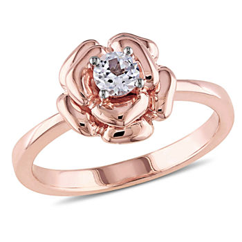 Womens Lab Created White Sapphire 18K Rose Gold Over Silver Flower Cocktail Ring