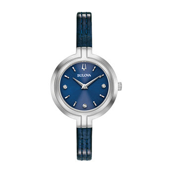 Bulova Rhapsody Womens Diamond Accent Blue Leather Strap Watch-96p212