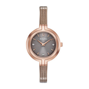 Bulova Rhapsody Womens Diamond Accent Brown Leather Strap Watch-97p143
