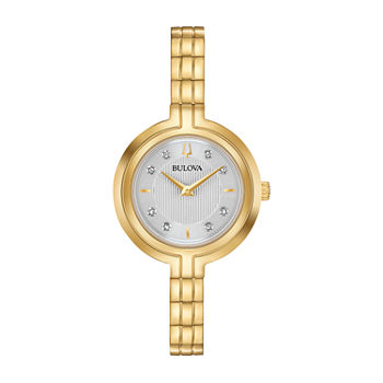 Bulova Rhapsody Womens Diamond Accent Gold Tone Stainless Steel Bracelet Watch - 97p144