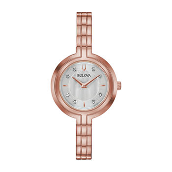 Bulova Rhapsody Womens Diamond Accent Rose Goldtone Stainless Steel Bracelet Watch - 97p145