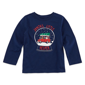 Kids Christmas Shirts.City Streets Christmas Boys Crew Neck Long Sleeve Graphic T Shirt Toddler