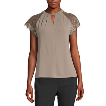 Worthington Womens Lace Short Sleeve Top - Tall