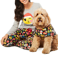 North Pole Trading Co. Merry Textmas Microfleece Family Pajamas-Pet
