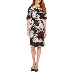 Liz Claiborne Elbow Sleeve Floral Sheath Dress