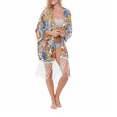 White Mark Beach Circles Woven Swimsuit Cover-Up Dress