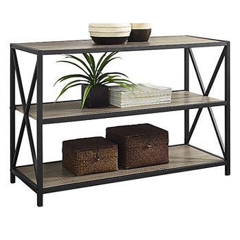 "40"" X-Frame Metal and Wood Media Bookshelf"