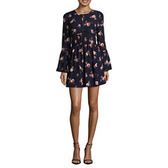 Speechless Long Sleeve Floral A-Line Dress-Juniors