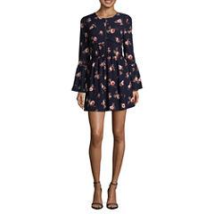 Speechless Long Sleeve Floral A-Line Dress-Juniors