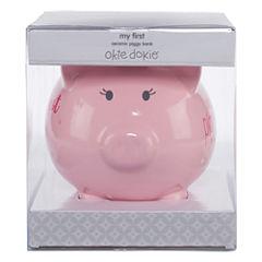 Okie Dokie Ceramic Piggy Bank - Girls