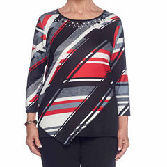 Alfred Dunner Talk Of The Town 3/4 Sleeve Crew Neck Stripe T-Shirt-Womens