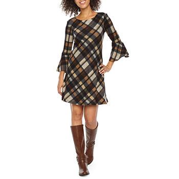 Jessica Howard 3 4 Sleeve Plaid A-Line Dress a54b204d5