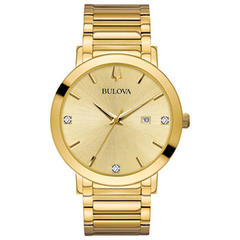 Bulova Futuro Mens Diamond Accent Gold Tone Stainless Steel Bracelet Watch - 97d115