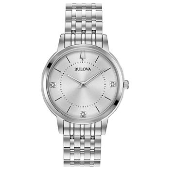Bulova Classic Womens Diamond Accent Silver Tone Stainless Steel Bracelet Watch - 96p183