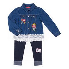 Little Lass Denim Jacklet with Long Sleeve Graphic Top 3pc. Legging Set- Preschool Girls