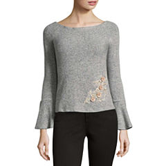 by&by Long Sleeve Boat Neck Pullover Sweater-Juniors