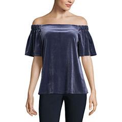 Worthington Short Sleeve T-Shirt-Womens