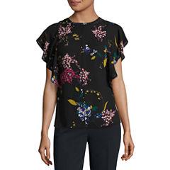 Worthington Short Sleeve Scoop Neck Woven Floral Blouse