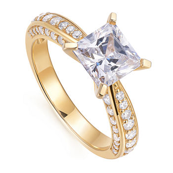 18K Gold Over Silver Cubic Zirconia Engagement Ring