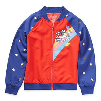Little & Big Girls Wonder Woman Lightweight Bomber Jacket
