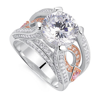 Womens 5 1/2 CT. T.W. Multi Color Cubic Zirconia Sterling Silver Round Engagement Ring