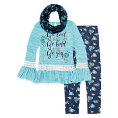 Knit Works Long Bell Sleeve Fashion Top Legging Set with Scarf- Girls' 7-16 & Plus
