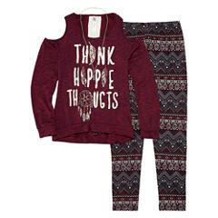 Knit Works Cold Shoulder Long Sleeve Fashion Top Legging Set- Girls' 7-16 & Plus