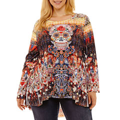 Unity World Wear Long Sleeve Pleat Back Halloween Tee-Plus