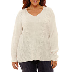 St. John's Bay Long Sleeve V-Neck Sweater-Plus