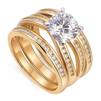 Womens 2 3/4 CT. T.W. Cubic Zirconia 18K Gold Over Silver Round Bridal Set