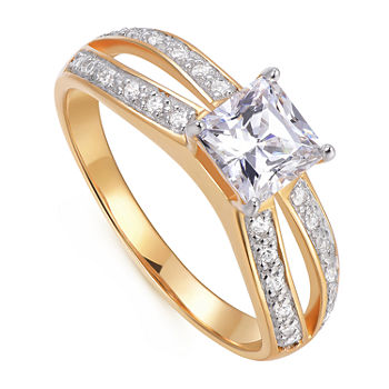 Womens 1 1/8 CT. T.W. Cubic Zirconia 18K Gold Over Silver Square Engagement Ring