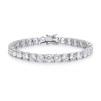 "Simulated Cubic Zirconia Platinum Over Silver Round 7.5-7.75"" Tennis Bracelet"