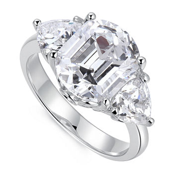 Cubic Zirconia Platinum Over Silver 3-Stone Engagement Ring