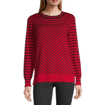 Liz Claiborne Womens Crew Neck Chevron Pullover Sweater