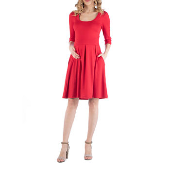 24/7 Comfort Apparel Scoop Neck  Fit and Flare Dress