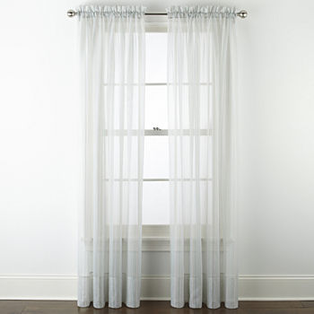 Home Expressions Lisette Stripe Print Sheer Rod-Pocket Single Curtain Panel