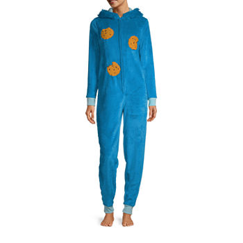 Cookie Monster Womens Plush Long Sleeve One Piece Pajama