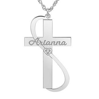 Womens White Diamond Accent Personalized Cross Pendant Necklace