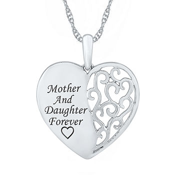 """Mother And Daughter"" Womens 10K White Gold Heart Pendant Necklace"