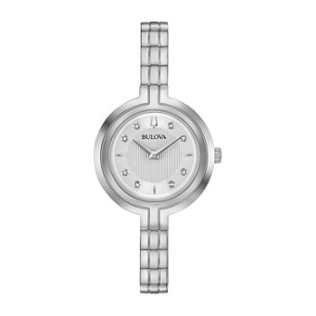 Bulova Rhapsody Womens Diamond Accent Silver Tone Stainless Steel Bracelet Watch - 96p214