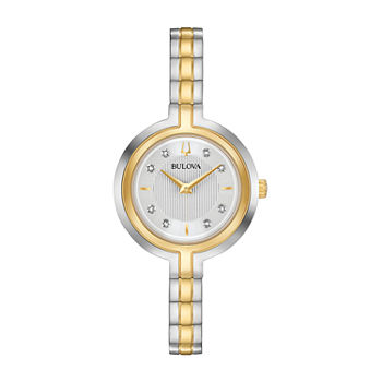 Bulova Rhapsody Womens Diamond Accent Two Tone Stainless Steel Bracelet Watch - 98p193