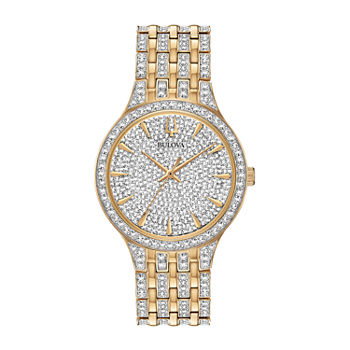 Bulova Phantom Mens Crystal Accent Two Tone Stainless Steel Bracelet Watch - 98a229