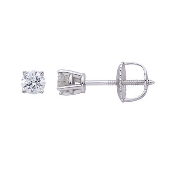 Premier Collection 1/4 CT. T.W. Genuine Diamond Stud Earrings 14K White Gold