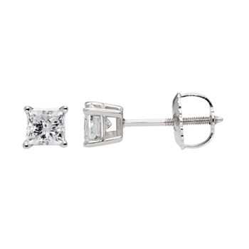 Premier Collection 1/2 CT. T.W. Genuine Diamond Princess-Cut Stud Earrings