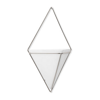Umbra Trigg Wall Display Large White/Nickel Wall Basket
